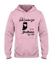 JUST A SOUTH CAROLINA GIRL IN An INDIANA WORLD Hooded Sweatshirt front