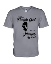 JUST A FLORIDA GIRL IN AN ILLINOIS WORLD V-Neck T-Shirt thumbnail