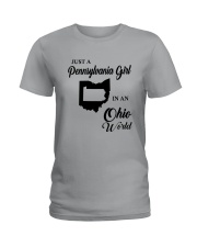 JUST A PENNSYLVANIA GIRL IN AN OHIO WORLD Ladies T-Shirt thumbnail
