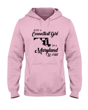 JUST A CONNECTICUT GIRL IN A MARYLAND WORLD Hooded Sweatshirt front