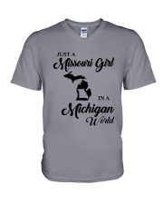 JUST A MISSOURI GIRL IN A MICHIGAN WORLD V-Neck T-Shirt thumbnail