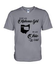 JUST AN OKLAHOMA GIRL IN AN OHIO WORLD V-Neck T-Shirt thumbnail