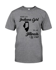 JUST AN INDIANA GIRL IN AN ILLINOIS WORLD Classic T-Shirt thumbnail
