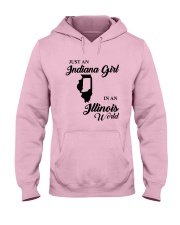 JUST AN INDIANA GIRL IN AN ILLINOIS WORLD Hooded Sweatshirt front