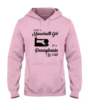 JUST A MASSACHUSETTS GIRL IN A PENNSYLVANIA WORLD Hooded Sweatshirt front