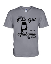 JUST An OHIO GIRL IN An ALABAMA WORLD V-Neck T-Shirt thumbnail