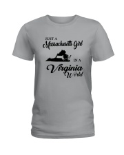JUST A MASSACHUSETTS GIRL IN A VIRGINIA WORLD Ladies T-Shirt thumbnail