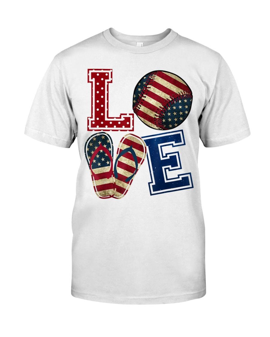 LOVE Baseball Softball Flip Flop USA Flag 4th July Classic T-Shirt