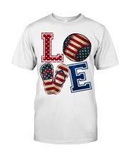 LOVE Baseball Softball Flip Flop USA Flag 4th July Classic T-Shirt front