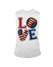 LOVE Baseball Softball Flip Flop USA Flag 4th July Sleeveless Tee thumbnail