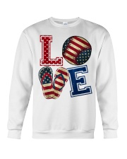 LOVE Baseball Softball Flip Flop USA Flag 4th July Crewneck Sweatshirt thumbnail