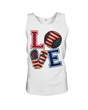 LOVE Baseball Softball Flip Flop USA Flag 4th July Unisex Tank thumbnail