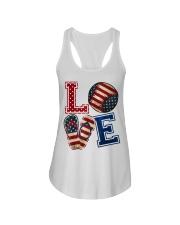 LOVE Baseball Softball Flip Flop USA Flag 4th July Ladies Flowy Tank thumbnail