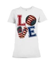 LOVE Baseball Softball Flip Flop USA Flag 4th July Premium Fit Ladies Tee thumbnail
