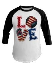 LOVE Baseball Softball Flip Flop USA Flag 4th July Baseball Tee thumbnail
