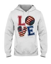 LOVE Baseball Softball Flip Flop USA Flag 4th July Hooded Sweatshirt thumbnail