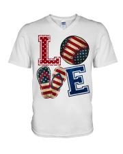 LOVE Baseball Softball Flip Flop USA Flag 4th July V-Neck T-Shirt thumbnail