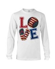 LOVE Baseball Softball Flip Flop USA Flag 4th July Long Sleeve Tee thumbnail