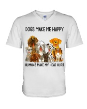 Dogs Make Me Happy shirt V-Neck T-Shirt thumbnail