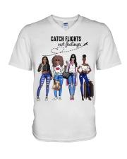 Catch Flights Not Feelings Summer V-Neck T-Shirt thumbnail