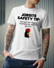 Jobsite Safety Tip Don't Put Your Fingers Anywhere Classic T-Shirt lifestyle-mens-crewneck-front-6