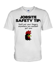 Jobsite Safety Tip Don't Put Your Fingers Anywhere V-Neck T-Shirt thumbnail