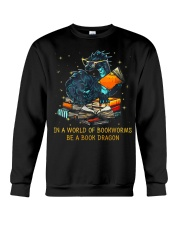 In A World Of Bookworms Be A Book Dragon Crewneck Sweatshirt thumbnail