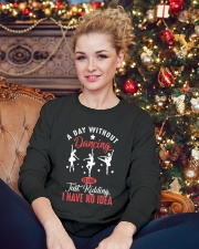 A day without dancing Tshirt Crewneck Sweatshirt lifestyle-holiday-sweater-front-2