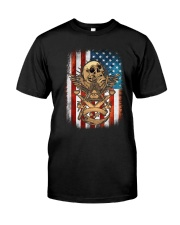 USA Flag Skull Square and Compassed Classic T-Shirt front
