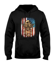 USA Flag Skull Square and Compassed Hooded Sweatshirt tile