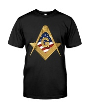 USA Flag Square and Compassed Classic T-Shirt front