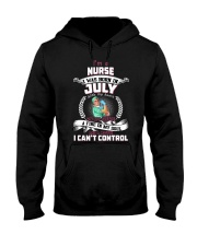 July Nurse was born with heart in sleeve Hooded Sweatshirt thumbnail