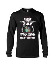 July Nurse was born with heart in sleeve Long Sleeve Tee thumbnail