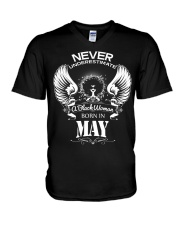 Black Woman Born in May V-Neck T-Shirt thumbnail