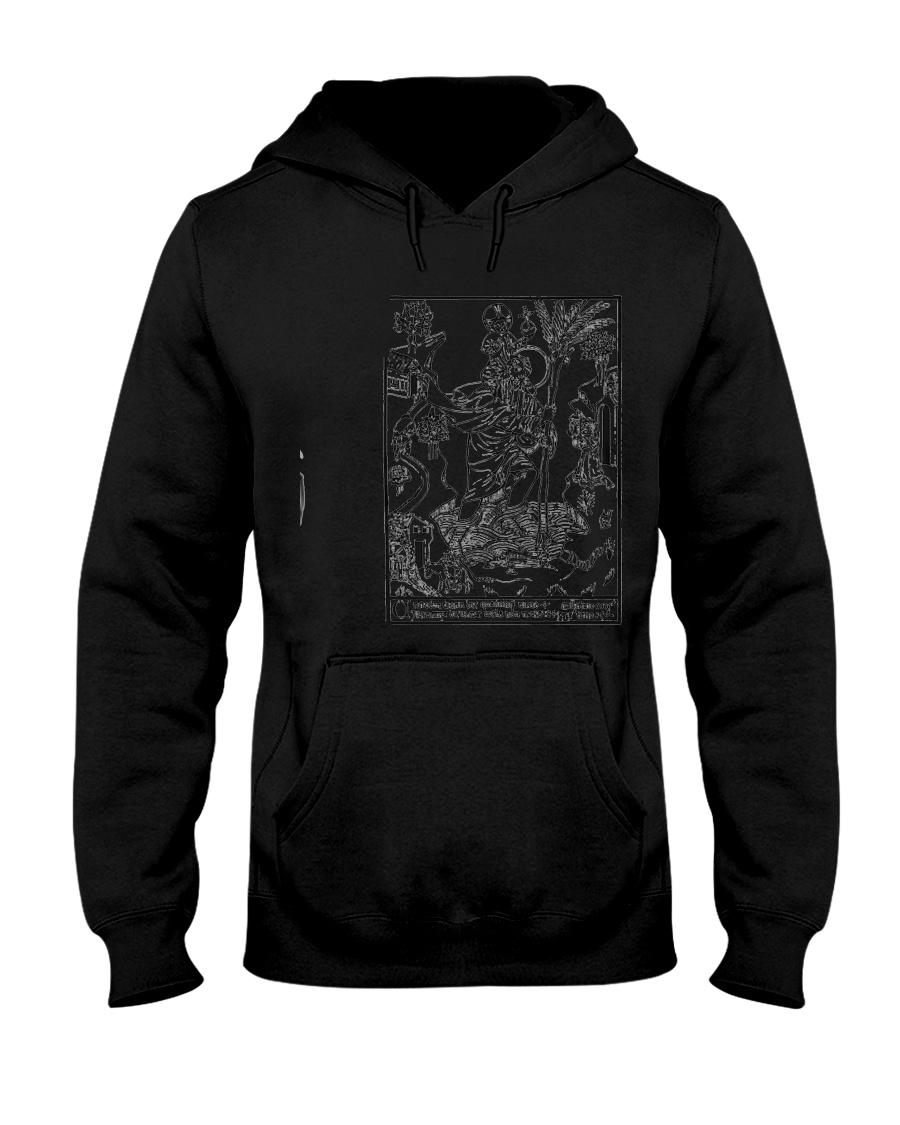 Saint Cristopher Woodbook Print  Hooded Sweatshirt