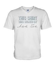 This shirt was sign by Tesla V-Neck T-Shirt thumbnail