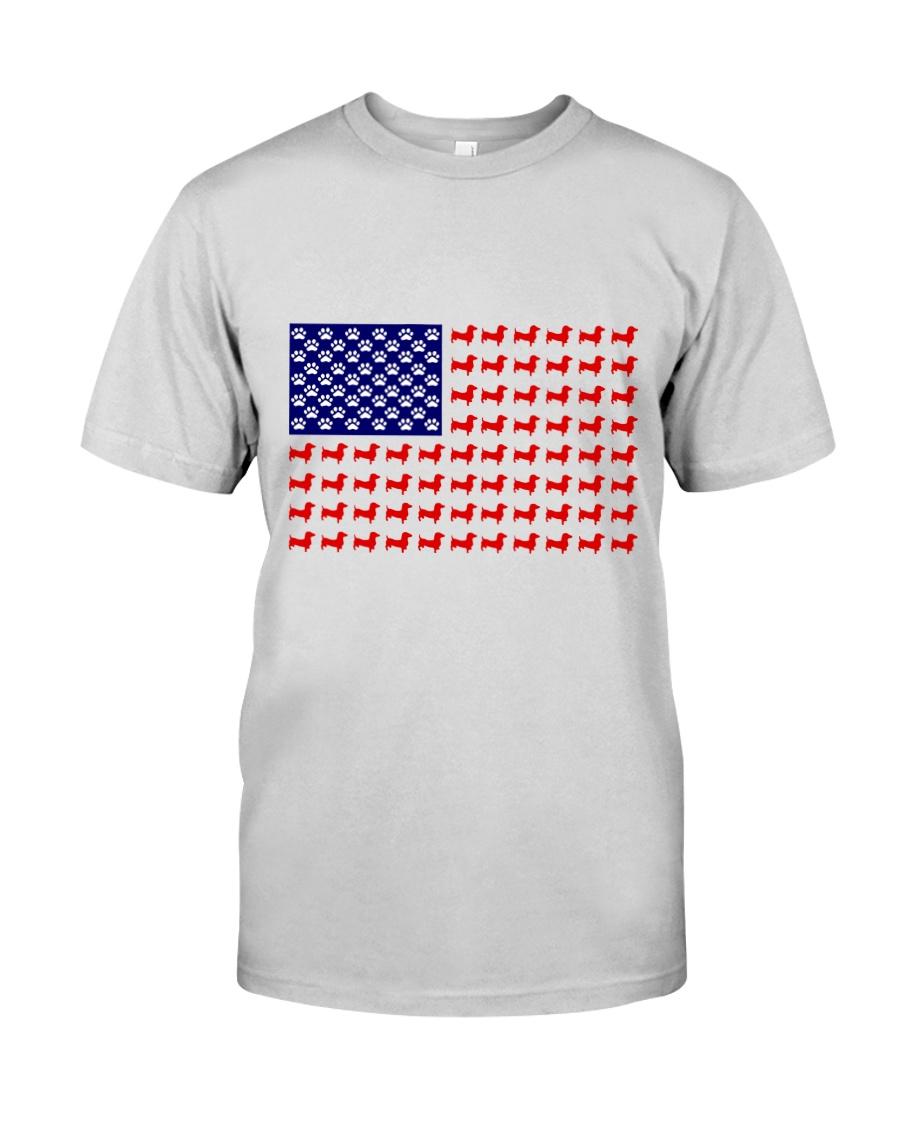 AMERICAN FLAG - DACHSHUND  Premium Fit Mens Tee