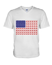 AMERICAN FLAG - DACHSHUND  V-Neck T-Shirt tile
