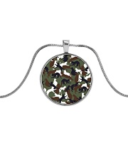 Camo cats - JY Metallic Circle Necklace front