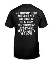 Gay Pride 2020 Shirt No Homophobia No Violence Classic T-Shirt back
