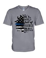 rose blue V-Neck T-Shirt thumbnail