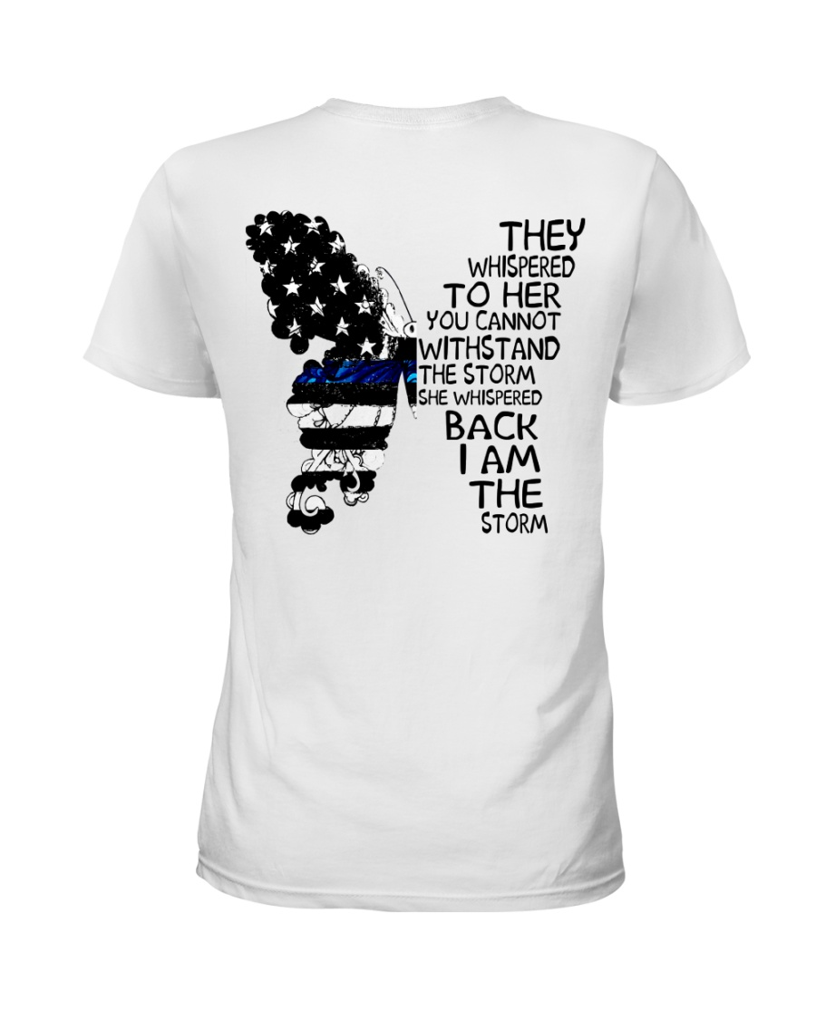 Blue Line Butterfly Storm Ladies T-Shirt