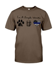 Simple Woman Paw Beer Blue Line Classic T-Shirt thumbnail