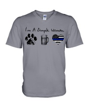 Simple Woman Paw Beer Blue Line V-Neck T-Shirt thumbnail
