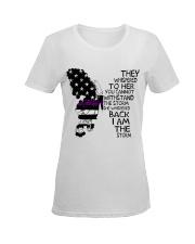 Butterfly Thin Purple Line Ladies T-Shirt women-premium-crewneck-shirt-front