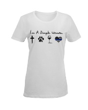 Cross Paw Wine Police Ladies T-Shirt women-premium-crewneck-shirt-front
