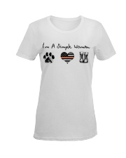 Order Simple Woman with Hiking Boots Ladies T-Shirt women-premium-crewneck-shirt-front
