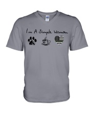Simple Woman Camo V-Neck T-Shirt thumbnail