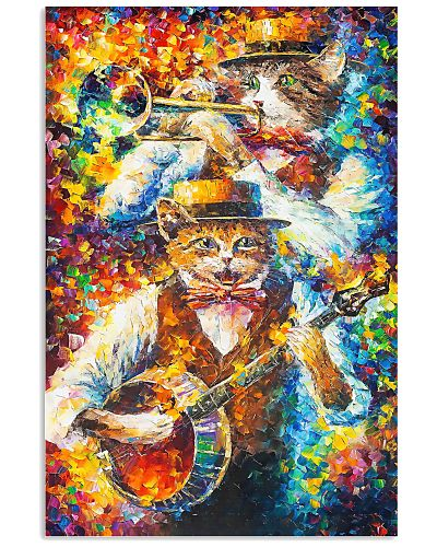 CAT PLAY MUSIC - WATERCOLOR PRINTED