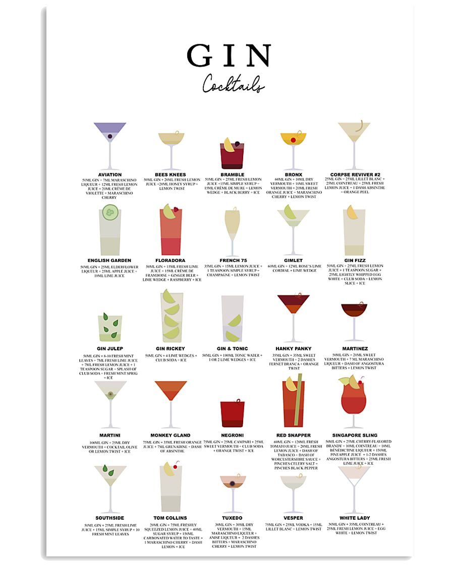 GIN - COCKTAIL GUIDE 16x24 Poster